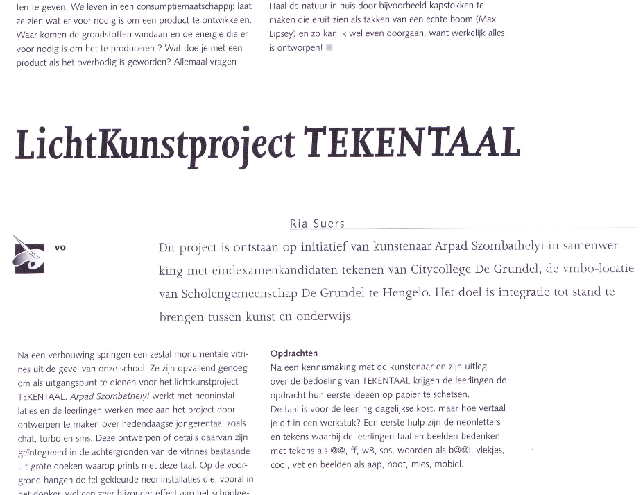 Lichtkunstproject TEKENTAAL